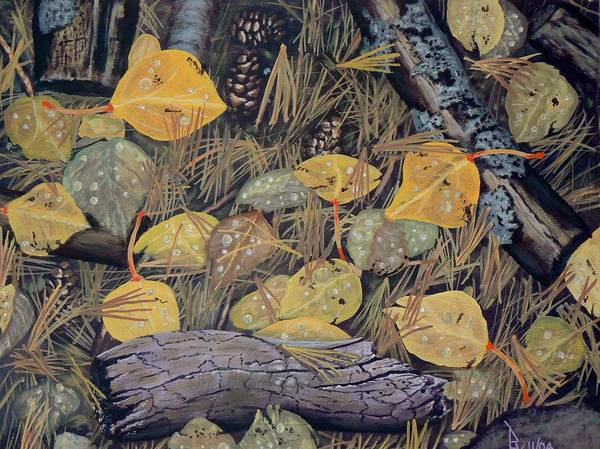 Painting - Aspen Leaves And Needles by Ray Nutaitis