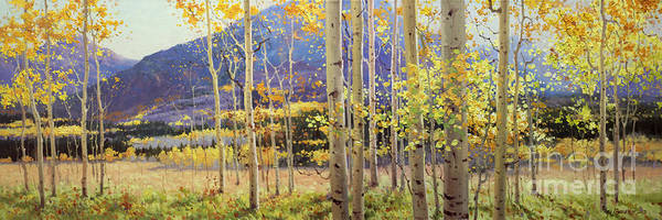 Wall Art - Painting - Panorama View Of Aspen Trees by Gary Kim