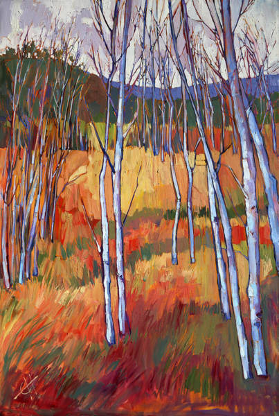 Zion Painting - Aspens At Zion by Erin Hanson