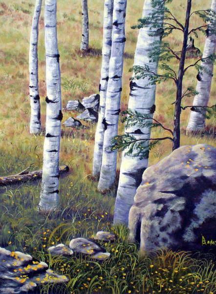 Painting - Under The Aspens by Ray Nutaitis
