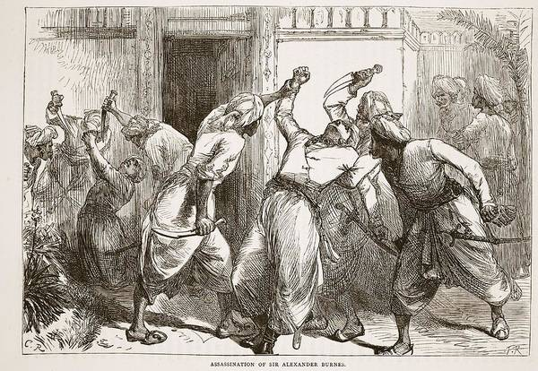 Murder Drawing - Assassination Of Sir Alexander Burnes by English School