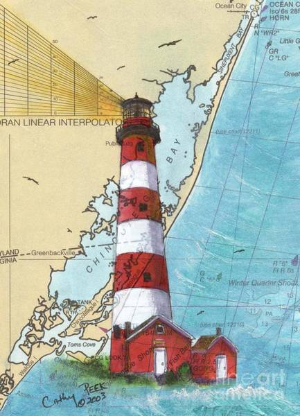Wall Art - Painting - Assateague Island Lighthouse Va Chart Map Art Cathy Peek by Cathy Peek