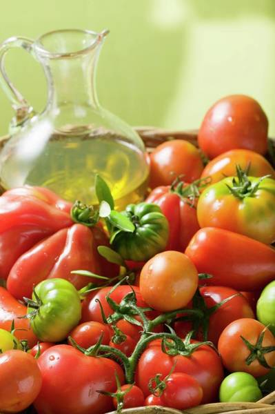 Vegies Photograph - Assorted Tomatoes And Olive Oil by Foodcollection