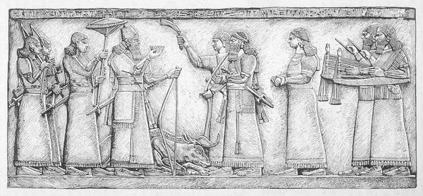 Wall Art - Drawing - Assurnasirpal Thanks The Gods by Mary Evans Picture Library