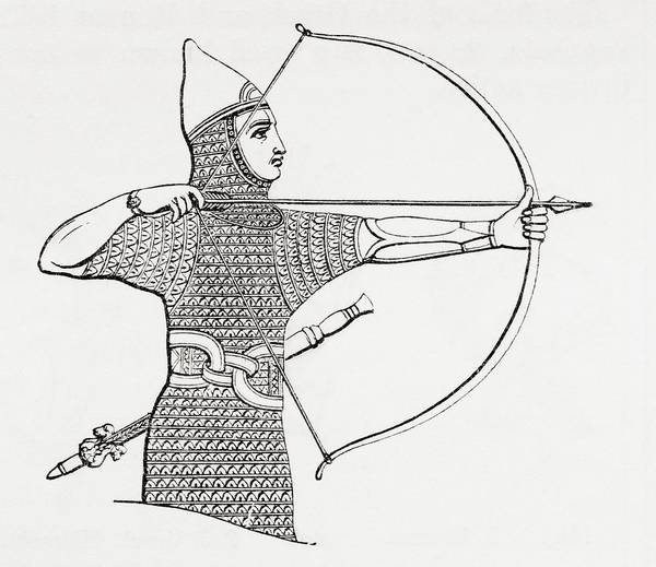 Archery Photograph - Assyrian Archer Wearing A Cuirass.  From The Imperial Bible Dictionary, Published 1889 by Bridgeman Images