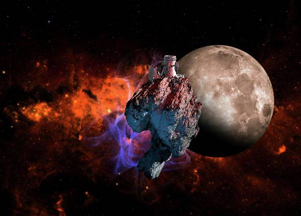 Color Image Digital Art - Asteroid Mining, Artwork by Victor Habbick Visions