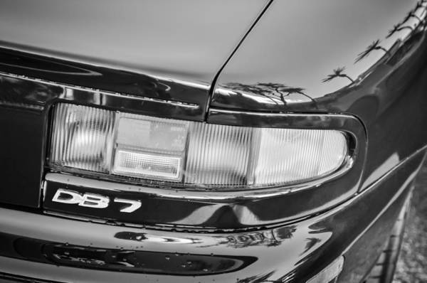 Photograph - Aston Martin Db 7 Taillight Emblem -0042bw by Jill Reger