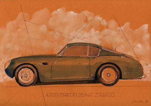 Martin Painting - Aston Martin Db4 Gt Zagato by Juan  Bosco