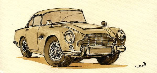 Vehicles Wall Art - Painting - Aston Martin Db5 by Juan  Bosco