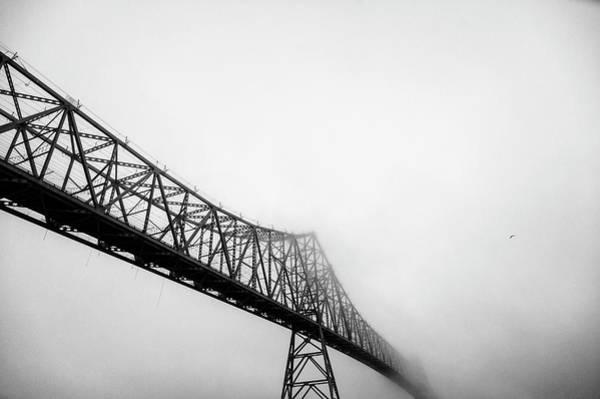 Astoria Wall Art - Photograph - Astoria-megler Bridge And Seagull In Fog by Mike Hill