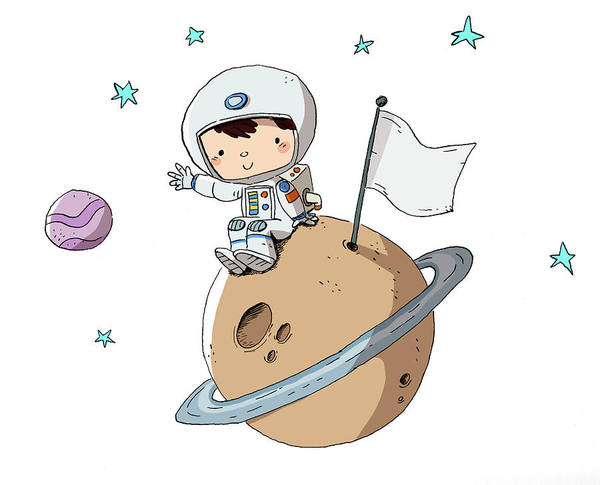 Digital Art - Astronaut, Child In Space Sitting On A by Pixel107