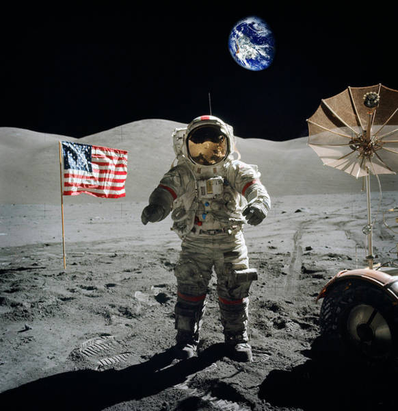 Photograph - Astronaut On The Lunar Surface Earth On The Background by Celestial Images