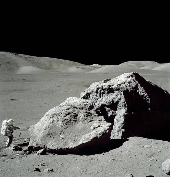 Harrison Photograph - Astronaut Schmitt And Huge Boulder by Nasa/science Photo Library