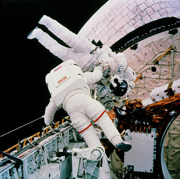 Mission Bay Photograph - Astronauts Harbaugh & Runco In Eva Test by Nasa/science Photo Library