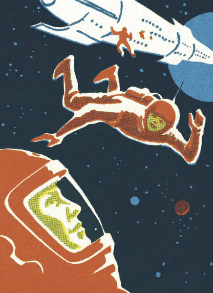 Astronauts In Outer Space Art Print by CSA-Printstock