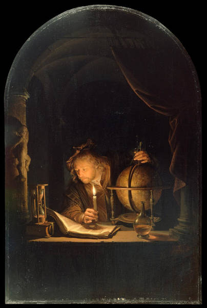 Wall Art - Painting - Astronomer By Candlelight by Gerrit Dou
