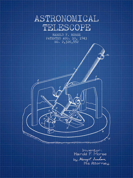 Living Space Wall Art - Digital Art - Astronomical Telescope Patent From 1943 - Blueprint by Aged Pixel
