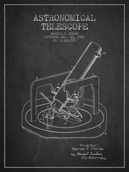 Living Space Wall Art - Digital Art - Astronomical Telescope Patent From 1943 - Dark by Aged Pixel
