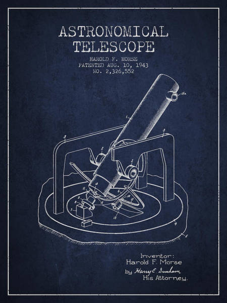 Living Space Wall Art - Digital Art - Astronomical Telescope Patent From 1943 - Navy Blue by Aged Pixel