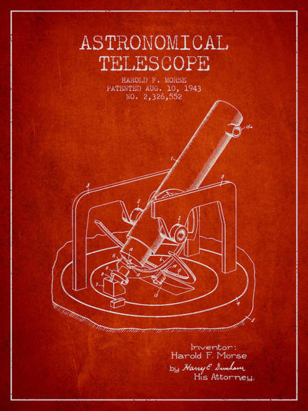 Living Space Wall Art - Digital Art - Astronomical Telescope Patent From 1943 - Red by Aged Pixel