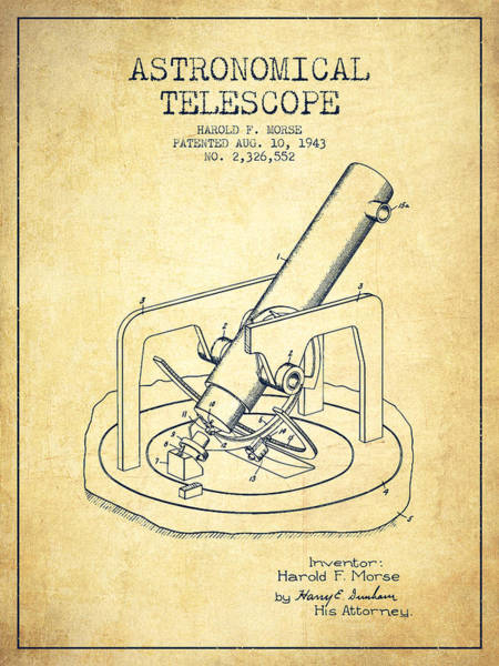 Living Space Wall Art - Digital Art - Astronomical Telescope Patent From 1943 - Vintage by Aged Pixel