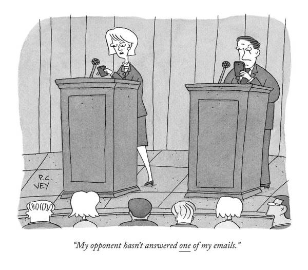 Drawing - At A Candidate's Debate by Peter C. Vey
