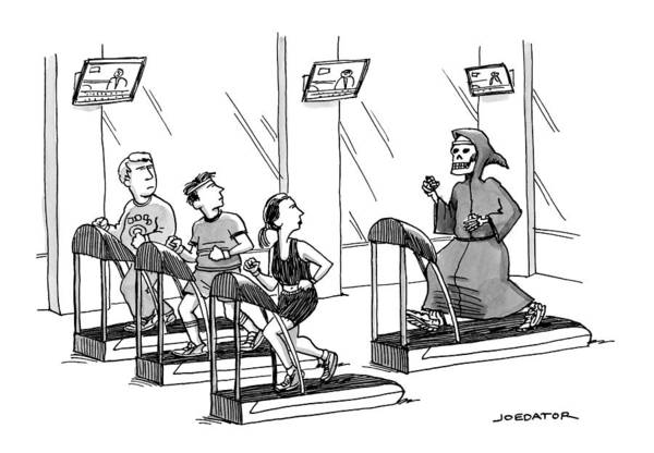 Wall Art - Drawing - At A Gym, Death Runs On A Treadmill Behind Three by Joe Dator