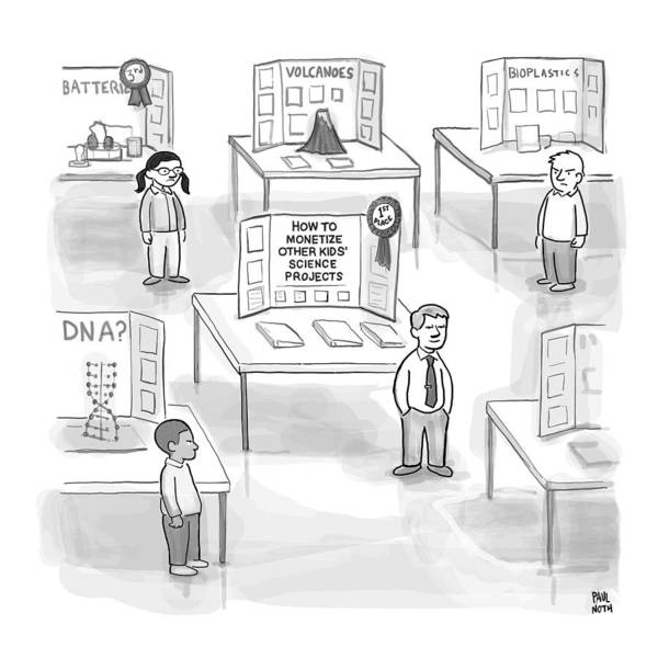 School Drawing - At A Science Fair by Paul Noth