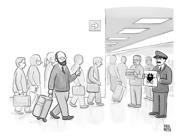 Therapist Drawing - At An Airport by Paul Noth