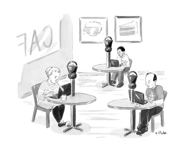April 6th Drawing - At An Internet Cafe by Emily Flake