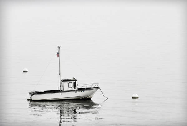 Vessel Wall Art - Photograph - At Anchor Bar Harbor Maine Black And White by Carol Leigh