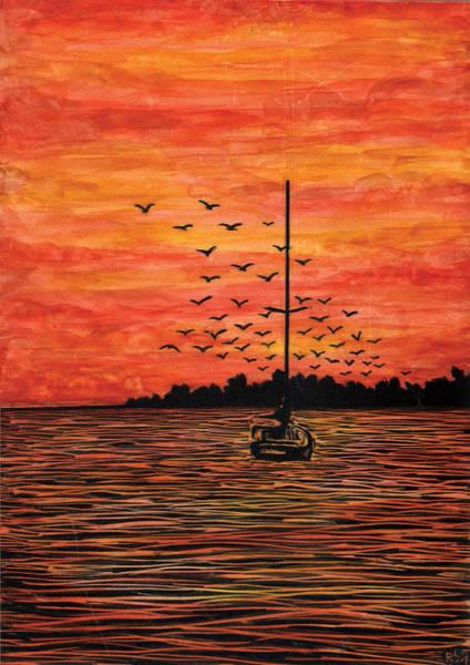 Sailboat Mixed Media - At Anchor by Ricardo Levins Morales