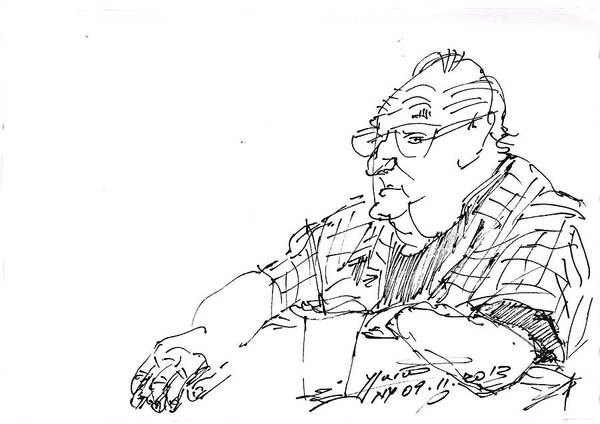 Coffee Drawing - At Coffee Table by Ylli Haruni