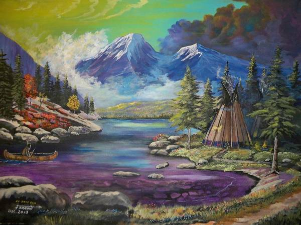 Indian Camp Painting - At Days End by Dave Farrow