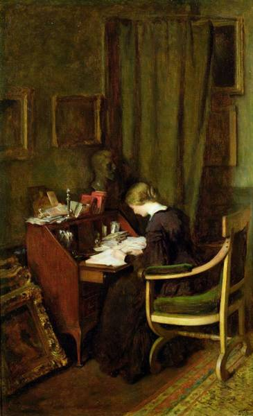 Writing Painting - At Her Desk by Henry Thomas Schafer