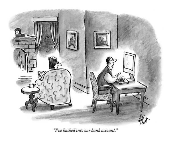Internet Drawing - At Home, A Husband At His Computer Talks by Frank Cotham