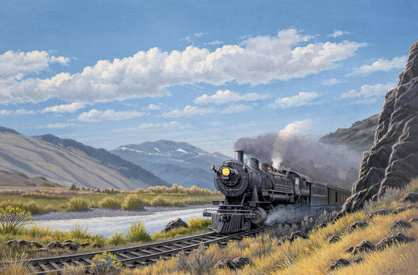 Trains Painting - At Point Of Rocks- Bound For Livingston  by Paul Krapf