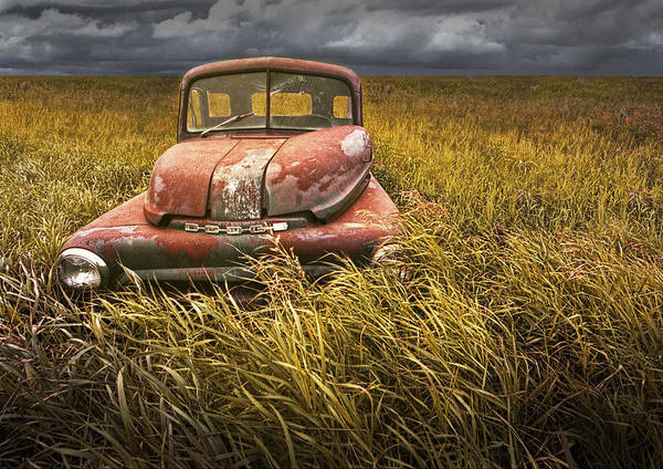 Photograph - At Roads End - A Photograph Of An Abandoned Dodge Auto On The Prairie by Randall Nyhof