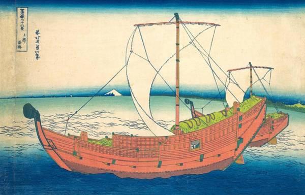 Thirty-six Views Of Mount Fuji Wall Art - Painting - At Sea Off Kazusa by Katsushika Hokusai