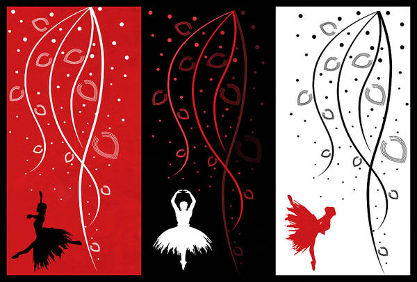 Digital Art - At The Ballet Triptych 1 by Angelina Tamez