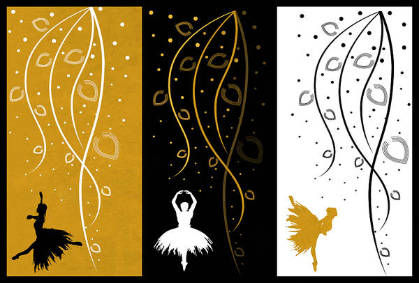 Digital Art - At The Ballet Triptych 4 by Angelina Tamez