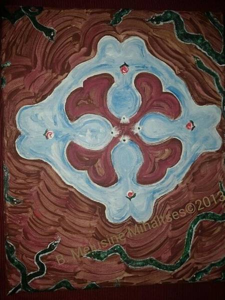 B. Melusine Mihaltses Wall Art - Painting - At The Bark Core We Gather Goddess Mandala by B Melusine Mihaltses