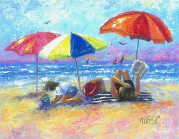 Impressionistic Sailboats Painting - At The Beach With Mom by Vickie Wade