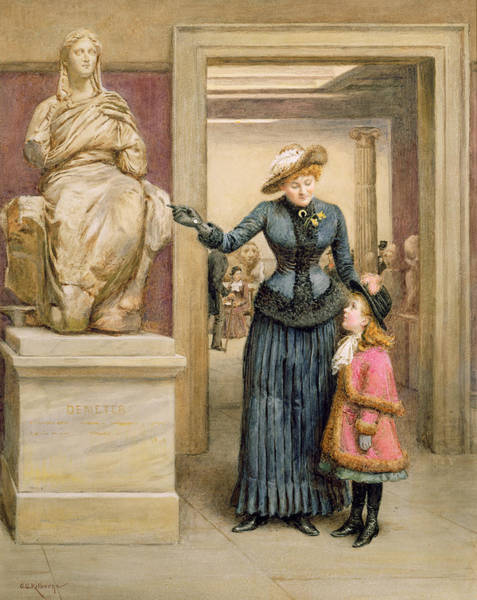 Wife Painting - At The British Museum by George Goodwin Kilburne