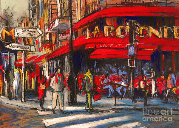 City Cafe Wall Art - Pastel - At The Cafe De La Rotonde Paris by Mona Edulesco