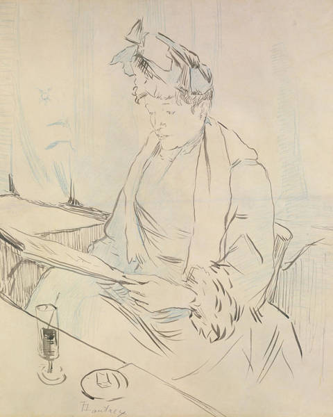 Pen And Ink Drawing Drawing - At The Cafe by Henri de Toulouse-Lautrec