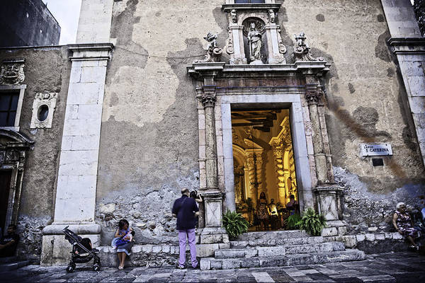 Wall Art - Photograph - At The Church - Child's Curiosity - Sicily by Madeline Ellis