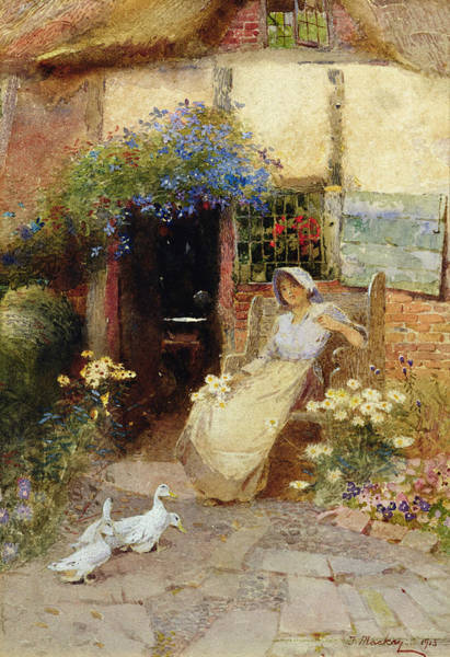 Exterior Painting - At The Cottage Door by Thomas Mackay