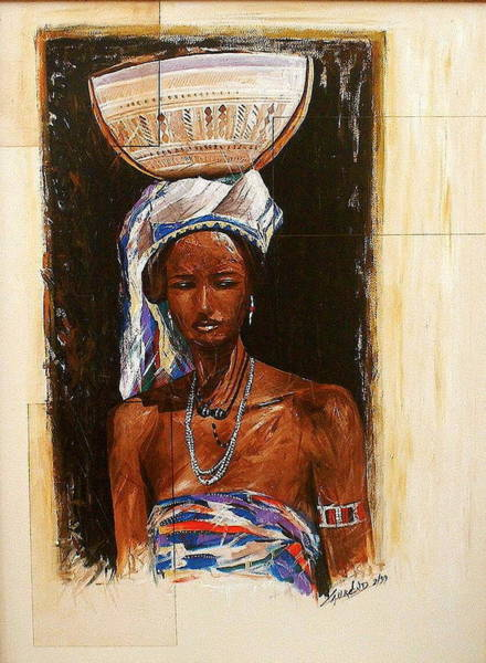 Painting - At The Door by Laurend Doumba