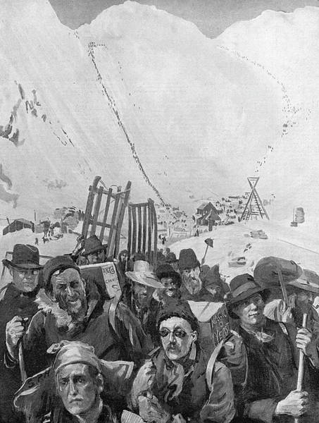 Wall Art - Drawing - At The Foot Of The Chilkoot  Pass - by  Illustrated London News Ltd/Mar
